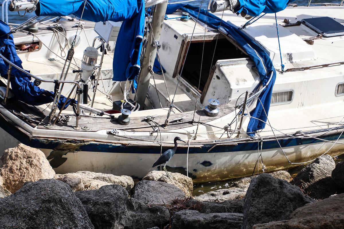 A boat ran aground.