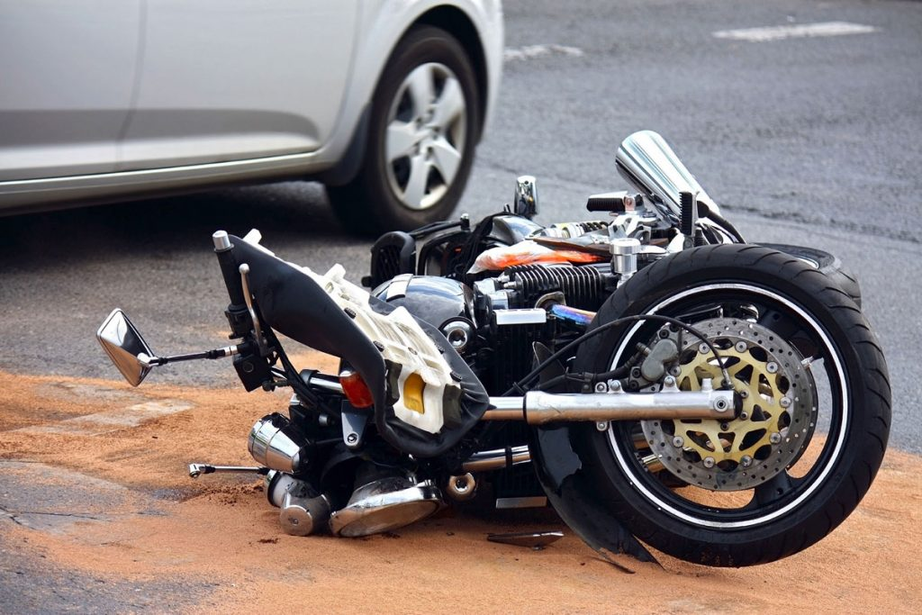 A motorcycle was in an accident.