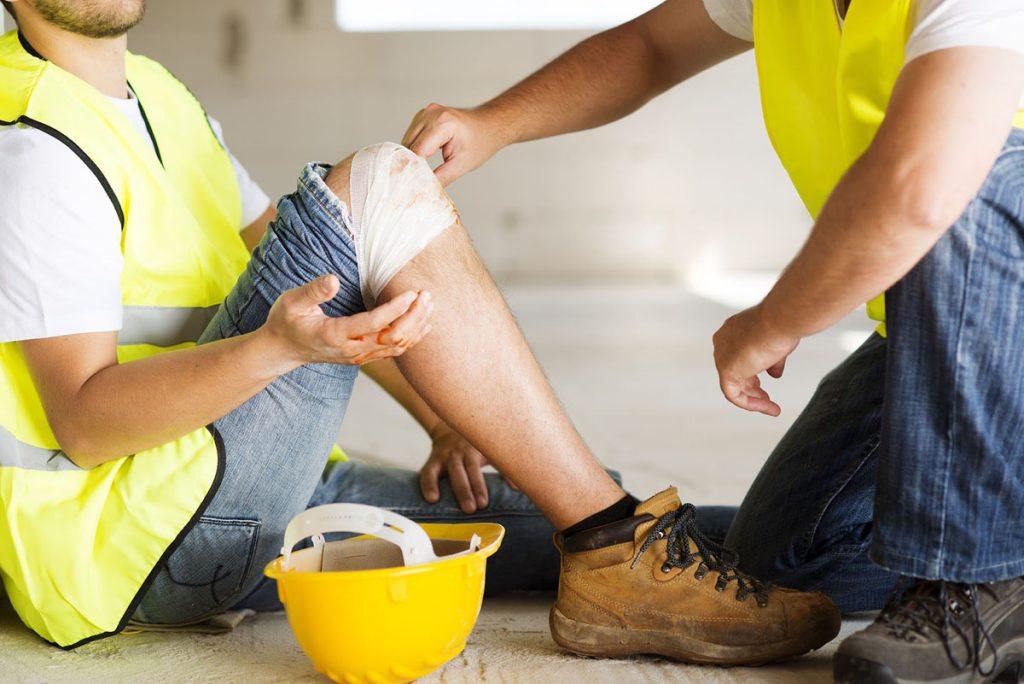 A worker has suffered a knee injury.